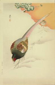 小原古邨/雪中の雉のサムネール