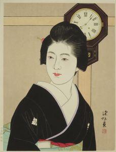 伊東深水/時計と美人 Ⅱ 堀田時計店版のサムネール