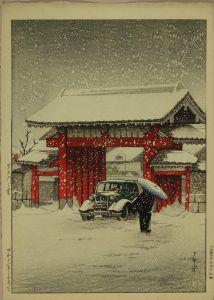 川瀬巴水/芝大門之雪のサムネール