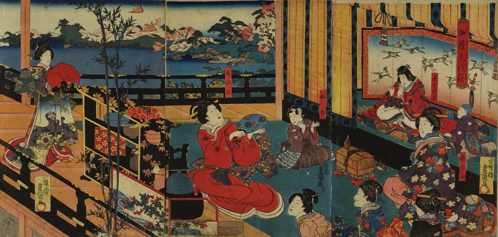 TOYOKUNI III A scene of a kabuki performance, triptych