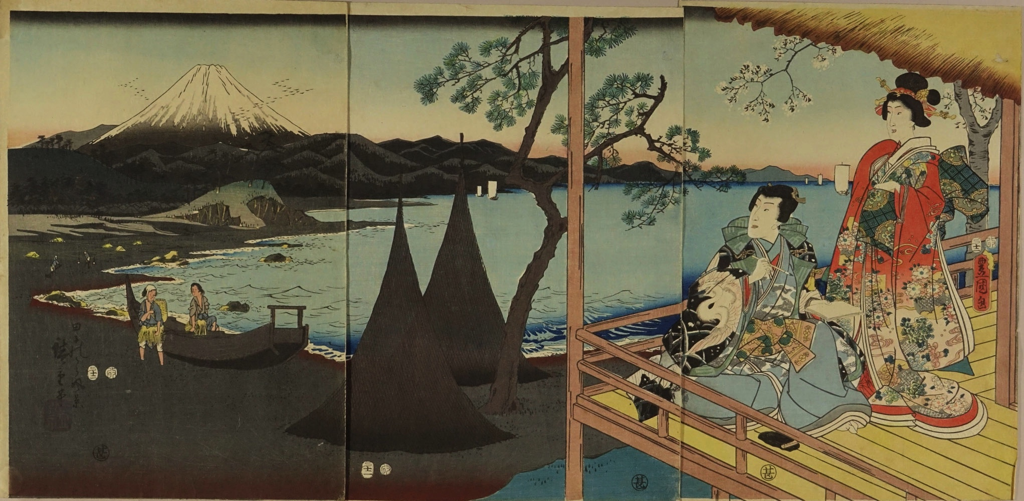 TOYOKUNI III / HIROSHIGE Genji and a beauty on a terrace overlooking Tagonoura Bay and Mount Fuji, titled <i>Tagonoura fukei</i> (View of Tagonoura Bay), triptych