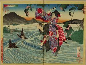 芳年/新撰東錦絵 鬼神於松四郎三郎を害す図のサムネール