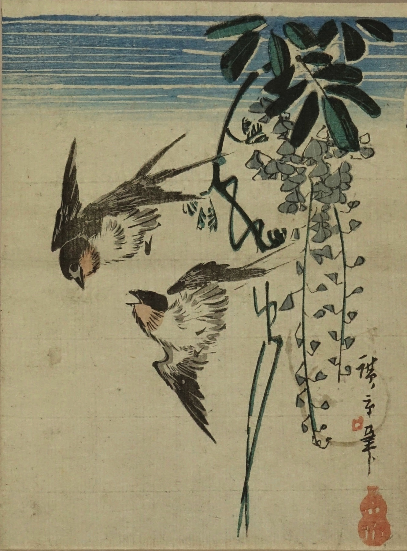 HIROSHIGE Swallow and wisteria