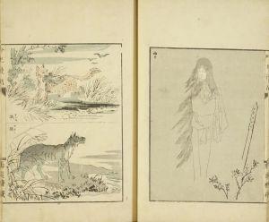安達吟光/吟光漫画 安達吟光画 明治35年 (1902) 元表紙 元題箋 一部小口割のサムネール