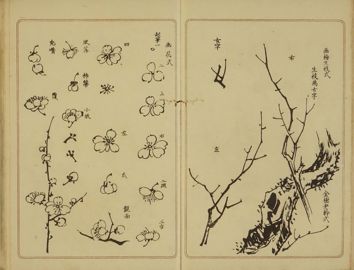 諸画家 古今名家習画帖 手刷複製木版画 2冊揃 明治42年(1919)刊 極少シミ 表紙少傷