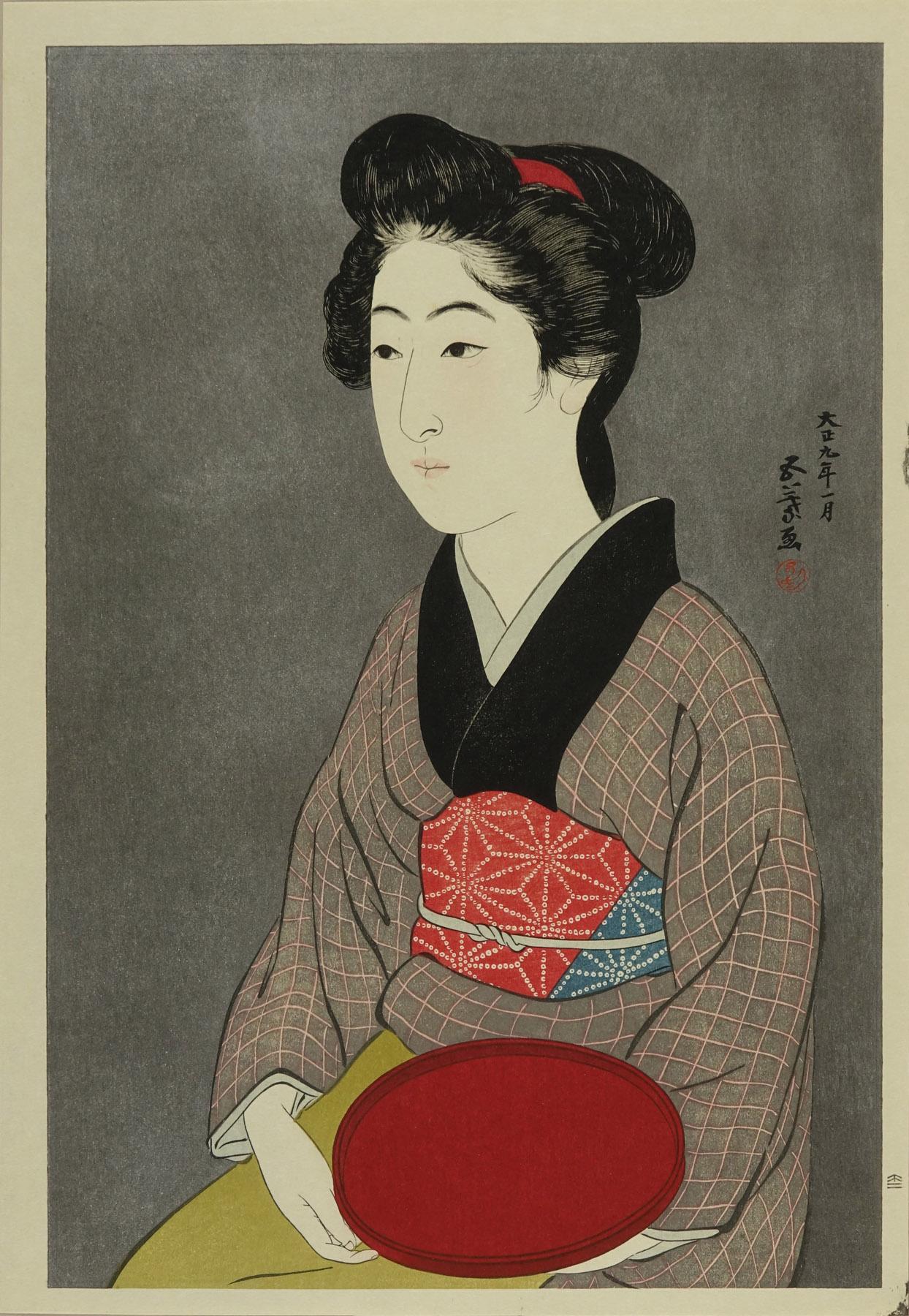 HASHIGUCHI GOYO Bon moteru onna (Roman holding a tray): after Hashiguchi Goyo, hand-printed woodcut reproduction, published by Yuyudo, 41x28.5cm., matted